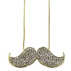 6 Colgantes bigotitos cristales brillantes oro y bronce