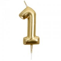 12 Velas doradas número 1
