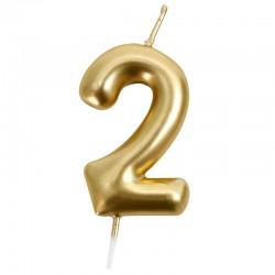 12 Velas doradas número 2