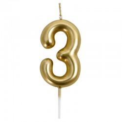 12 Velas doradas número 3