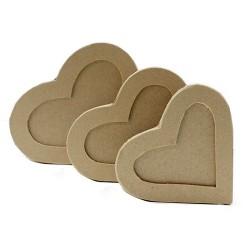 Set 3 cajas kraft corazón ventana