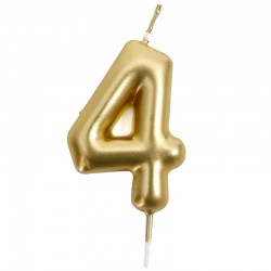 12 Velas doradas número 4
