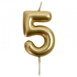 12 Velas doradas número 5