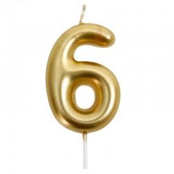 12 Velas doradas número 6
