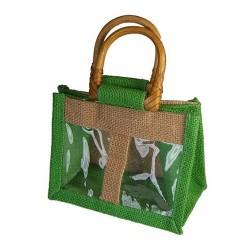 10 Bolsas yute 2 ventanas - Verde