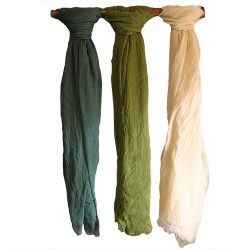6 Pañuelos de seda suave de Bali - musgo y tierra surtidos