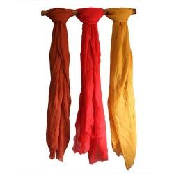 6 Pañuelos de seda suave de Bali - ámbar y teja surtidos
