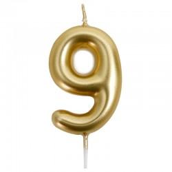 12 Velas doradas número 9