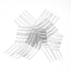 20 Lazos organza con tirador - Blanco (pack de 10)