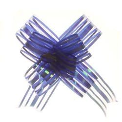 20 Lazos organza con tirador - Azul (pack de 10)
