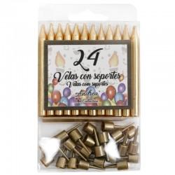 12 Packs 24 Velas doradas soporte