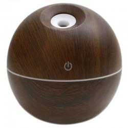 Humidificador aroma forma esfera madera palo de rosa