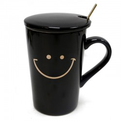 "Taza negra smile tapa y cuchara ""Golden Chic"" 13x8cm"