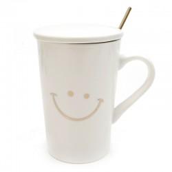 "Taza blanca smile tapa y cuchara ""Golden Chic"" 13x8 cm"