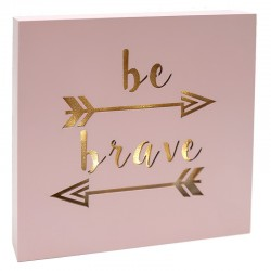 "Cuadro luminoso be brave ""Golden Chic"" 20x20cm"