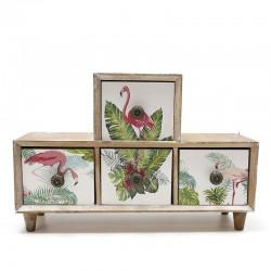 Mueble 4 cajones flamencos 9x20x30cm