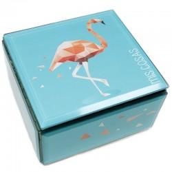 Caja cristal flamenco 12x12x7cm