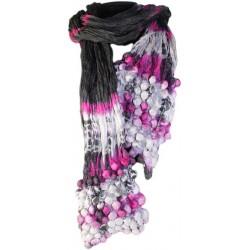 Pañuelo seda cachemir burbujas - púrpura y negro