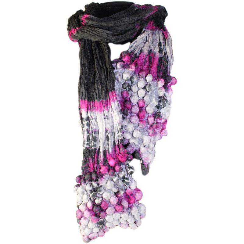 Pañuelo seda cachemir burbujas púrpura y negro AW