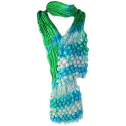 Pañuelo seda cachemir burbujas - hierba y azul cielo