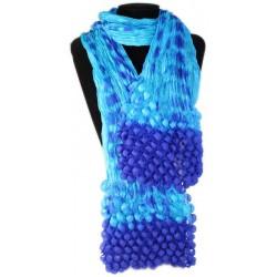 Pañuelo seda cachemir burbujas - azul y azul cielo