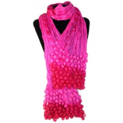 Pañuelo seda cachemir burbujas - rosa y rojo