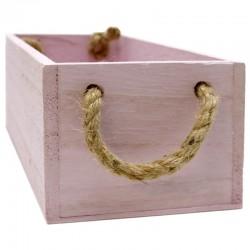 Caja madera rosa cuerda 24x12x9cm
