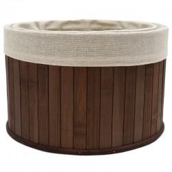 Set 2 cestas bambú marrón 25x25x16cm