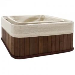 Set 2 cestas bambú marrón 25x25x11cm