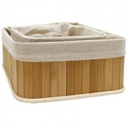 Set 2 cestas bambú natural 25x25x11cm