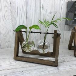 Decoración hogar - soporte madera 2 macetas