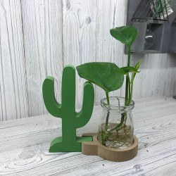 Jarrón decorativo cactus madera 15x14x6cm