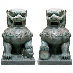 Set 2 perros de Fu 55x40x30 cm
