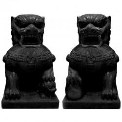 Set 2 perros de Fu natural 55x40x30 cm