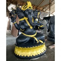 Estatua Ganesha Gampati negro y dorado 100 cm