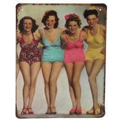 3 Placas vintage - Cuatro bellezas 21x15.5cm