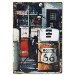 3 Placas vintage - Gasolinera retro Route 66 30x20cm