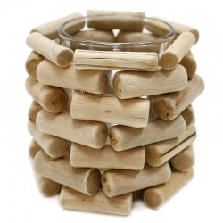 "Soporte de vela madera vaso cristal 10x∅9.5cm""África Ruge"""