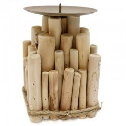 """Soporte de vela madera 9x13.5x9cm """"África Ruge"""""""
