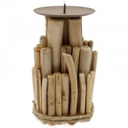 """Soporte de vela madera 9x17.5x9cm """"África Ruge"""""""