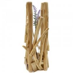 "Set 2 floreros madera y cristal 12.5x34.5x10cm ""África Ruge"""