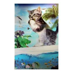 Lámina 3D gato y pez