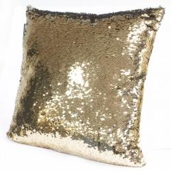 4 Fundas cojines lentejuelas reversibles - oro y mercurio