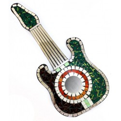 Guitarra mosaico - verde y rubí 40x17.5cm