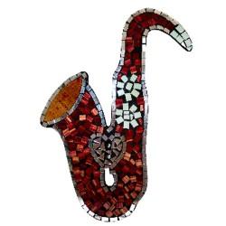 Saxofón mosaico - corazón rubí 40x32cm