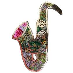 Saxofón mosaico - tono púrpura 40x32cm