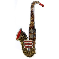 Saxofón mosaico - ámbar y musgo 80x40cm