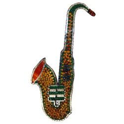 Saxofón mosaico - ámbar y verde 80x40cm