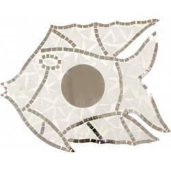 Espejo pez - mosaico blanco
