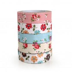 5 Fabric tape tela flores románticas (5 pack de 10)